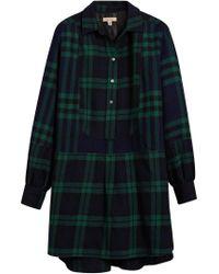 Burberry - Blue Check Tunic Dress - Lyst