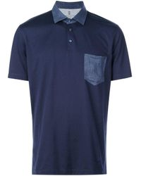 Brunello Cucinelli Blue Chest Pocket Polo Shirt for men