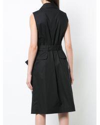 Paule Ka Black Belted Sleeveless Dress