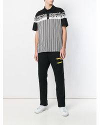 Versace Black Baroque Printed Striped Polo Shirt for men