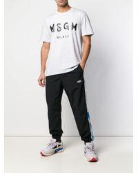 メンズ MSGM ストライプディテール トラックパンツ Black