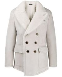 Tom Ford Gray Double-breasted Shearling Peacoat for men