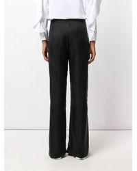 Neil Barrett Black Stripe Pattern Wide Leg Trousers