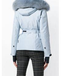 Moncler Grenoble Blue Fox Fur Hooded Jacket