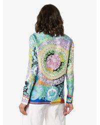 Versace Blue Seidenhemd mit Blumen-Print