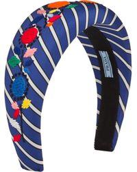 Serre-tête rayé à broderies Prada en coloris Blue