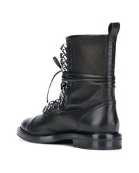Casadei Black Chain Embellished Combat Boots