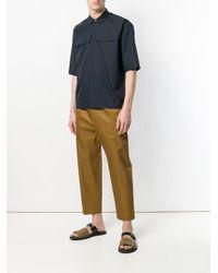 Jil Sander Blue Flap Pocket Short Sleeve Shirt for men