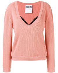 Moschino レイヤード Vネック セーター Pink