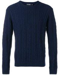 Pull à tricot torsadé Hackett pour homme en coloris Blue