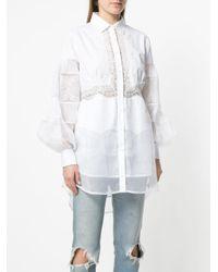 Ermanno Scervino - White Lace Insert Blouse - Lyst
