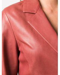 DROMe ノッチドカラー レザージャケット Red