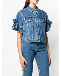 MSGM Blue Kurzärmelige Jeansjacke