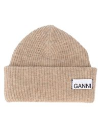 Ganni Natural Logo Patch Knitted Beanie
