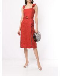 Vestito midi con cintura di Suboo in Red