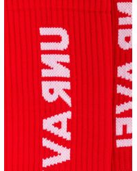 メンズ Unravel Project ロゴ 靴下 Red