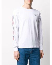 メンズ Saturdays NYC ストライプ ロングtシャツ White