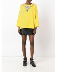 Boutique Moschino Yellow Necklace Print Blouse