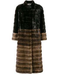 Liska Brown High Neck Long Coat