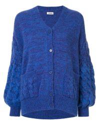 Coohem Blue Mohair Cable Knit Cardigan