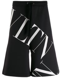 Valentino Contrast logo print shorts in Black für Herren