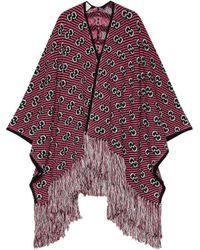 Жаккардовое Пончо С Узором GG Gucci, цвет: Red