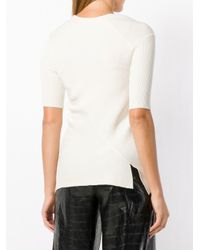 Top de canalé con cuello en V Helmut Lang de color White