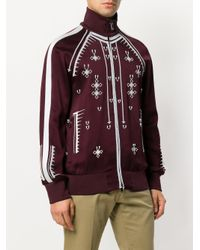 Valentino - Red Geometric Embroidery Zip-up Sweatshirt for Men - Lyst