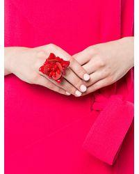 Oscar de la Renta - Red Flower Ring - Lyst