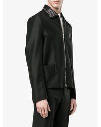 Valentino Black Eyelet Enbellished Collar Jacket for men