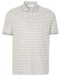 b451383f Cerruti 1881 Striped Polo Shirt in White for Men - Lyst