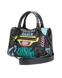 Bolso Classic City con motivo de graffiti Balenciaga de color Black