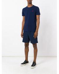 Polo Ralph Lauren - Blue Logo Tricolour Trim T-shirt for Men - Lyst