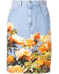MSGM フローラルプリント スカート Blue