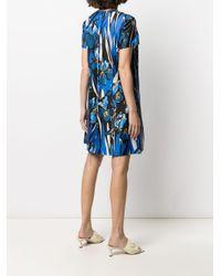 LaDoubleJ Blue Floral-print Satin Short Dress