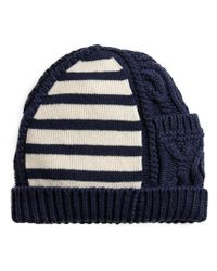 Burberry - Blue Cable Knit Beanie for Men - Lyst