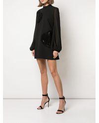 Robe courte brodée de sequins Giamba en coloris Black
