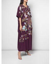 Caftano con ricamo di Josie Natori Couture in Purple