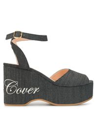 Undercover Blue Micro-stripe Logo Print Wedge Sandals