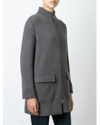 Manzoni 24 - Brown Zipped Coat - Lyst