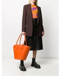 Grand sac cabas en cuir Bottega Veneta en coloris Orange