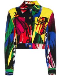 Versace Black Cropped Print Denim Jacket