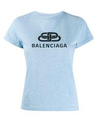 Balenciaga Blue BB T-Shirt, eng anliegend