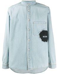 メンズ MSGM バンドカラーデニムシャツ Blue