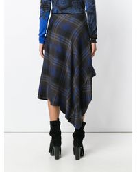 Etro Black Asymmetric Checked Skirt