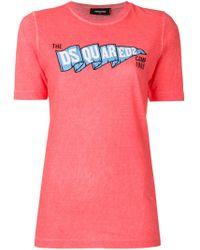 DSquared² Pink Logo Printed T-shirt
