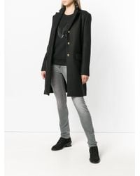 Versace Jeans Black Single-breasted Fitted Coat