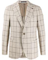 Tagliatore Multicolor Single Breasted Checked Tweed Blazer for men