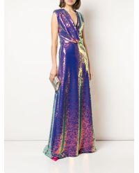 Robe brodée de sequins à effet iridescent Monique Lhuillier en coloris Purple