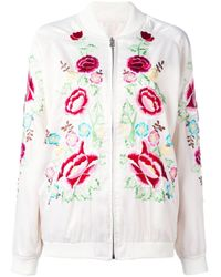 P.A.R.O.S.H. White Rose Embroidered Bomber Jacket